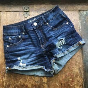 Indigo rein stretch denim distressed shorts